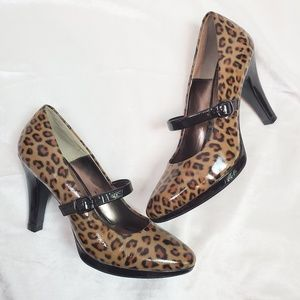 Sofft Patent Leather Leopard Heels